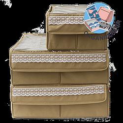 Набор органайзеров с крышками для нижнего белья 3 шт ORGANIZE (бежевый)