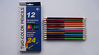 "Карандаши цветные двухстороние ""Luminoco Legno"",24 цв,12кар,трехгранные для рисования.Олівці кольорові двохсто"