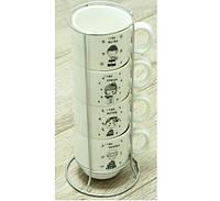 Набор чашек на 4 персоны на подставке Детки
