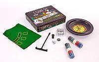 Мини-казино (набор для игры в рулетку и покер) 5 в 1 IG-4393 (100 фиш с ном,1 кол. карт,4 куб.,пол.)