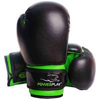 Боксерские перчатки PowerPlay 3004 JR Black-Green