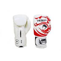Перчатки боксерские кожанные на липучке VENUM TRIBAL VL-5777-W