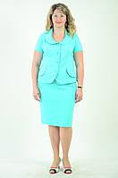 Костюм женский жакет и юбка, Кос 017,48-58, юбка по колено, хлопок, вискоза , нарядный , цвет бирюза.