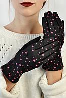 Женские перчатки трикотажные сенсорные Меренга розовые M