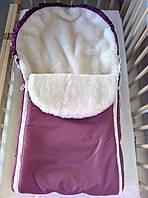 Меховой конверт зимний на овчине для малышей в коляску, санки, фото 1
