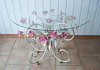 Стол кованый с розовыми розами С107 WR