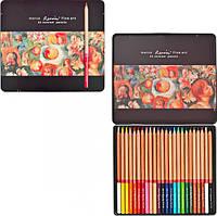 Цветные карандаши Marco Fine Art-24TN 24 цвета в металлическом пенале кедр