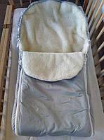 Меховой конверт , зимний, на овчине для детей теплый на санки детский, фото 1
