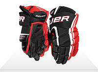 Перчатки хоккейные детские Bauer красные