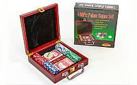 Набор для покера в деревянном кейсе IG-6641 на 100 фишек с номиналом (2 кол.карт,5куб)