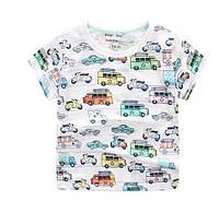 Летняя футболка с машинками для мальчика (рост 105-110-120-130)