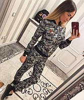 """Женский модный костюм-двойка"""" Милитари"""" трикотаж меланж: мастерка на молнии и брюки, люкс качество"""