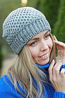 Шапка женская зимняя модная серая