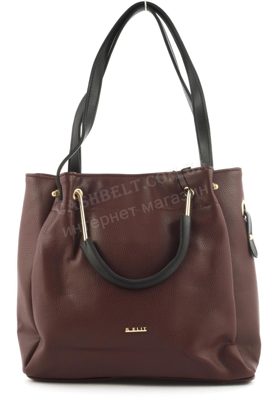 5e92eb048698 Вместительная стильная прочная модная качественная женская сумка B.ELIT  art. 07-51 бордовая