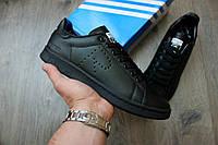 Осенние мужские кроссовки Adidas x Raf Simons Stan Smith Black (Топ качество, реплика)