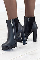 Ботинки женские черные на каблуке зима 1704 кожа/цигейка