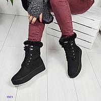 Ботинки зимние на шнурках из натуральной замши