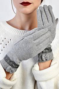 Женские перчатки трикотажные Гранита серые размер 8