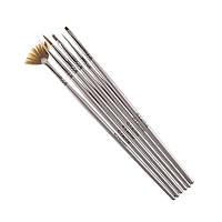 Набор кистей G.La.Color для наращивания гелем и дизайна ногтей с серой ручкой (6 шт)