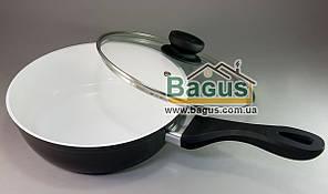 Сковорода сотейник ø24см h-7см с керамическим покрытием и стеклянной крышкой ЧЕРНАЯ FRICO (FRU-075-2)