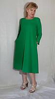 Платье женское миди однотонное хлопок тонкое трапеция с карманами Сукня жіноча міді бавовна