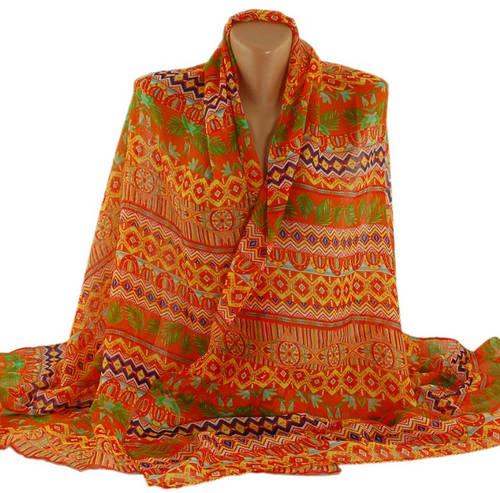 Шикарная женская шаль-парео, хлопок, 180х100 см, Traum 2498-34, цвет оранжевый.