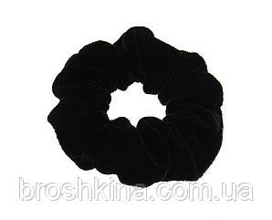 Бархатная резинка для волос черная d 9,5 см