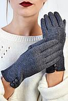 Женские перчатки трикотажные Семифредо серые размер 6,5