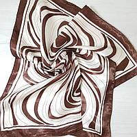 Платок шейный из шелка коричневый
