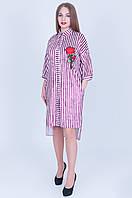 Женское асимметричное платье - рубашка из бархата с вышивкой, для пышных красоток