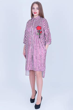 Женское асимметричное платье - рубашка из бархата с вышивкой, для пышных красоток, фото 2