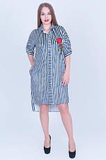 Женское асимметричное платье - рубашка из бархата с вышивкой, для пышных красоток, фото 3
