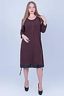 Коричневое платье больших размеров 592 (58 60 62 64), фото 1