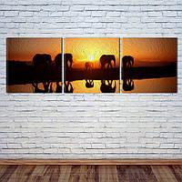 """Модульная картина """"Слоны"""", фото 1"""
