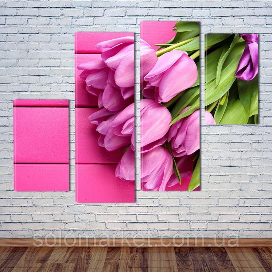 """Модульна картина """"Букет тюльпанів"""""""