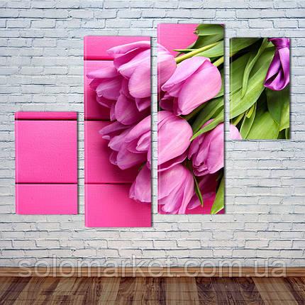 """Модульна картина """"Букет тюльпанів"""", фото 2"""