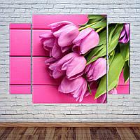 """Модульна картина """"Букет тюльпанів"""", фото 1"""