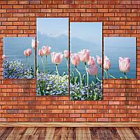 "Модульная картина ""Тюльпаны у воды"", фото 1"