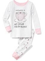 Детская белая трикотажная пижама с чашечкой Old Navy для девочки