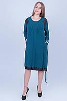 Женское платье морской волны 592 (58 60 62 64)