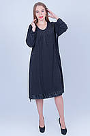 Повседневное платье больших размеров 592 ( 60 62 64)   темно серое