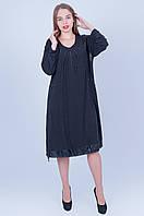 Повседневное платье больших размеров 592 ( 60)   темно серое, фото 1