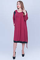 Стильное платье Супер Батал бордо 592 (58 60 62 ), фото 1