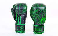 Перчатки боксерские кожаные на липучке VENUM  (р-р 10-12oz, черный-салатовый), фото 1