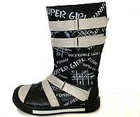 кожаные сапоги для девочки на липучках 26 размера