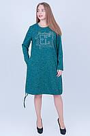 Стильное теплое платье. Цвет зеленый размеры 52 56 58 Код 594, фото 1