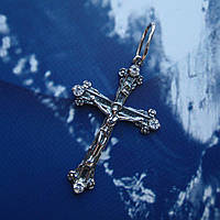 Серебряный крестик с распятием и камнями, 2,5 грамма