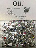 Камни для дизайна ногтей Swarowski 720 штук разные размеры и цвета Mix