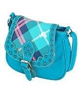 Молодежная женская сумка из кожи PU TRAUM 20х19х9 7215-04 голубой