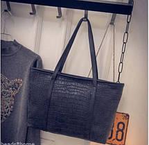 Большая женская сумка под крокодил, фото 3